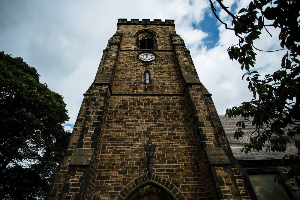 Church tower on a wedding day