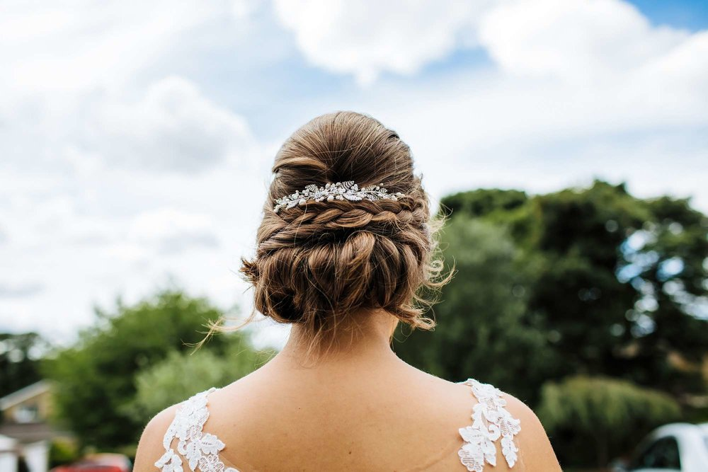 Detail of the bride's hair and hairpiece