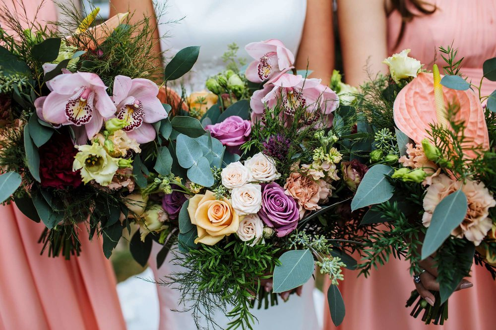 Close up of the bride's wedding flowers