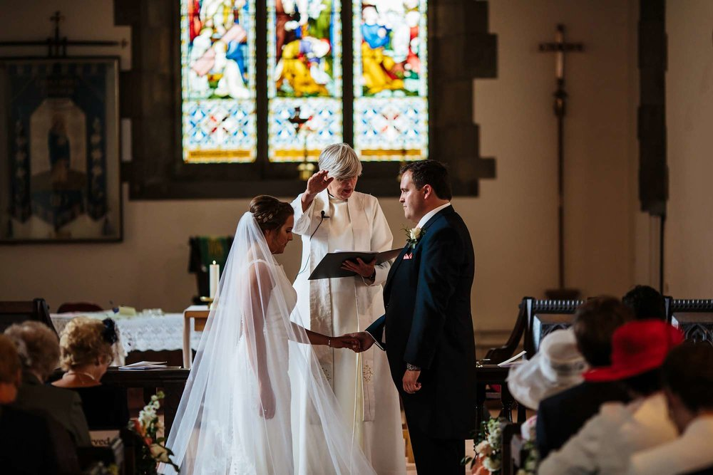 Blessing of the marriage at a church in Huddersfield