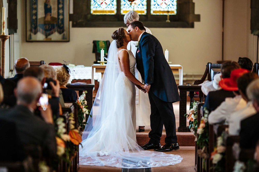 First kiss at a wedding in Yorkshire