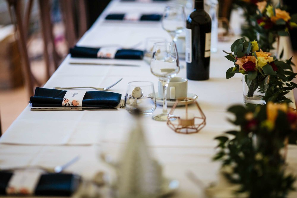 Table detail at a wedding at Fixby Hall