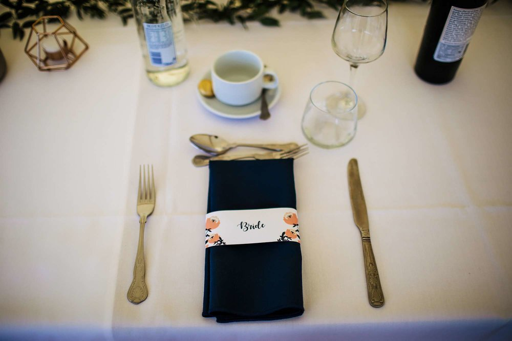Bride's table setting at her wedding in Huddersfield