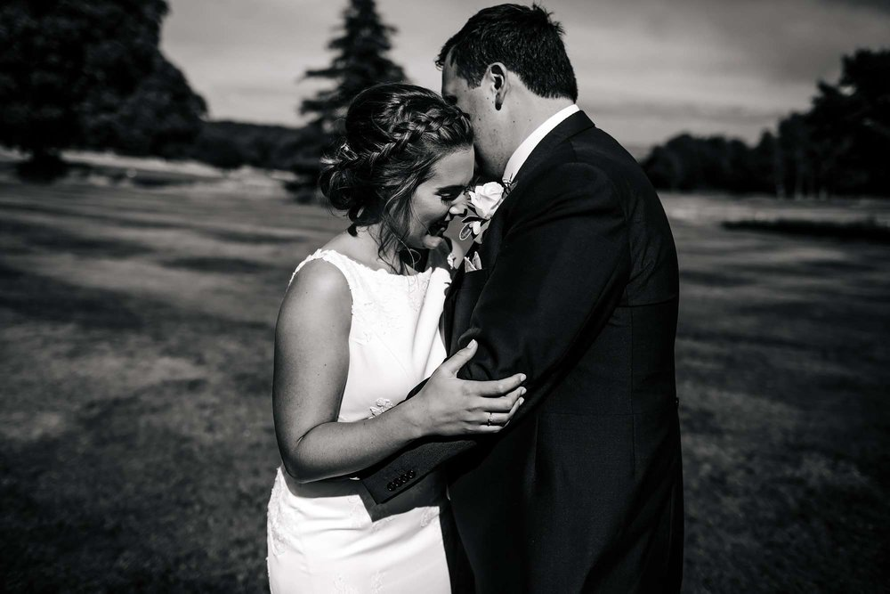 Black and white portrait of a bride and groom at Fixby Hall