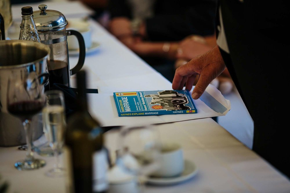 Marriage handbook lying on the table at a wedding