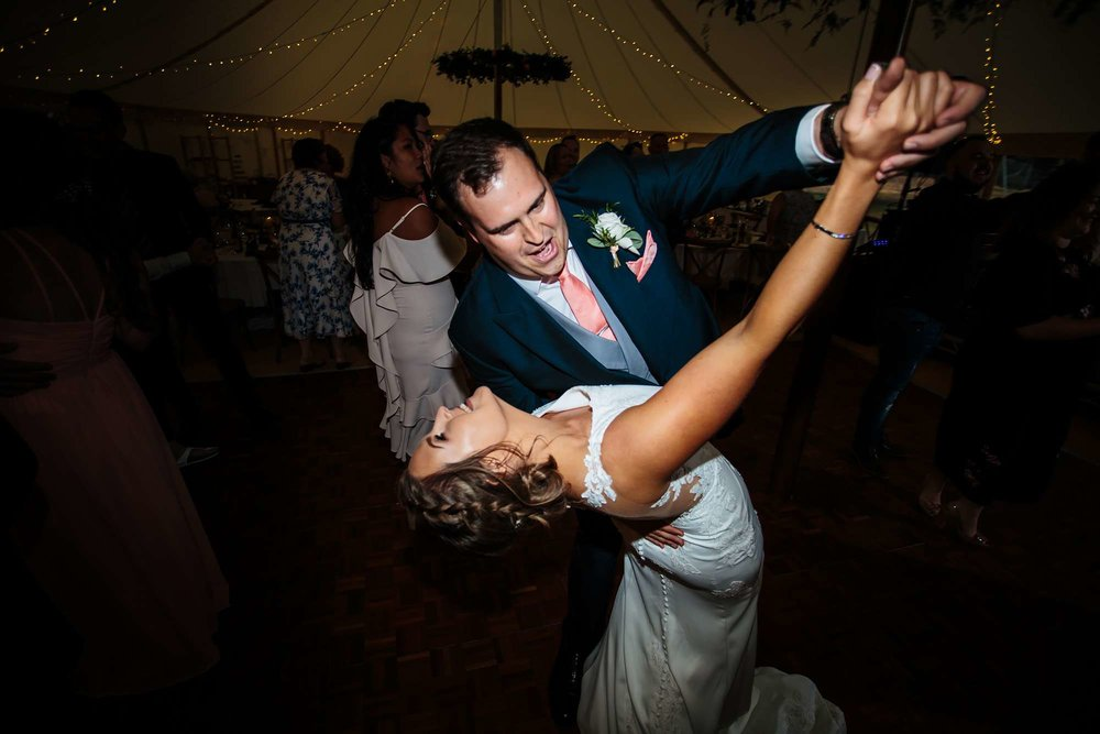 Bride and groom performing their first dance in Huddersfield