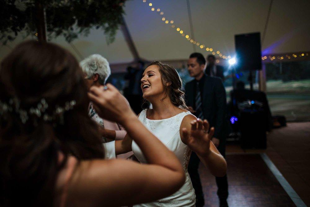 Bride dancing at her wedding in Huddersfield