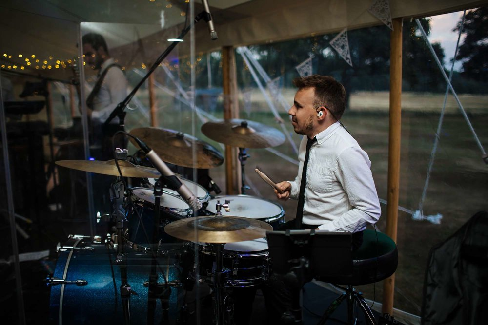 Drummer in the band at a wedding in Yorkshire