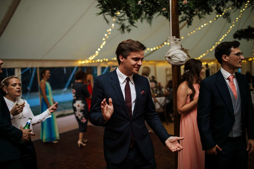Guests dancing and laughing at a Huddersfield wedding