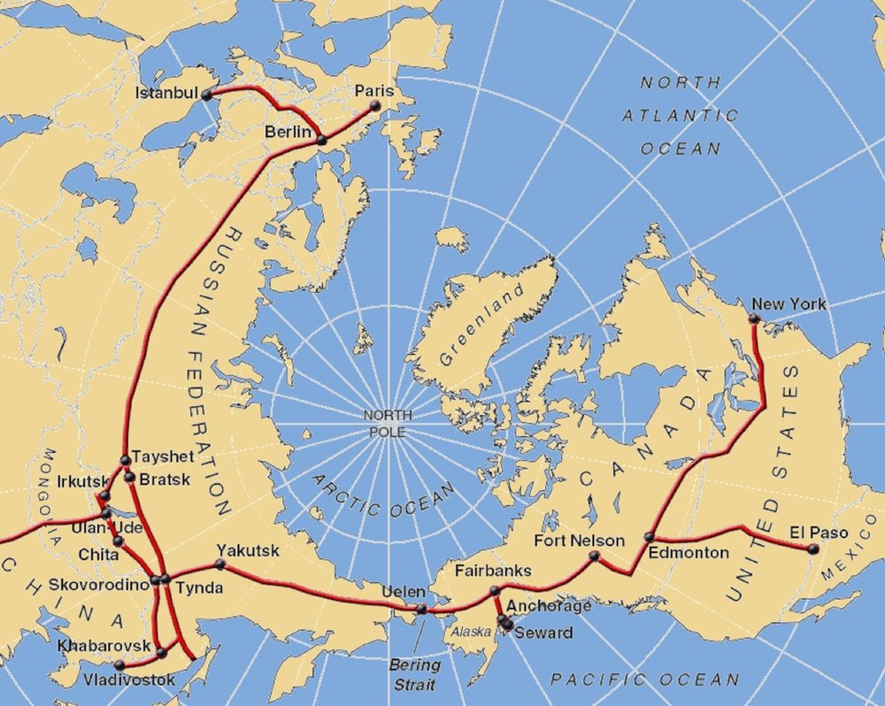 Seen from the North Pole, the distances between North America and Asia are much shorter due to the curvature of the earth. This radically reduces transportation time by rail versus shipping time across the Pacific.