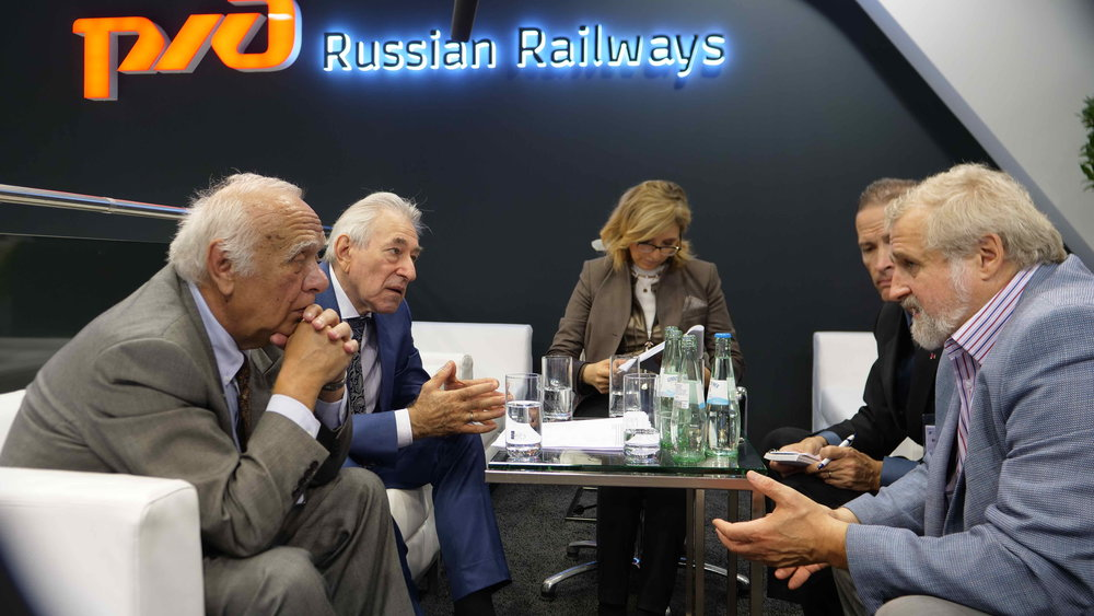 InterContinental Railway co-founders George Koumal (l) and Victor Razbegin (r) and Chief Project Advisor Scott Spencer (2nd from r) meet with Boris Lapidus, chief advisor to the president of Russian Railways to discuss US-Russian cooperation on the InterContinental Railway.