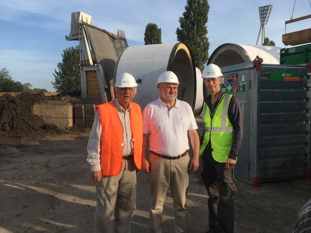 InterContinental Railway co-founders George Koumal (l) and Victor Razbegin (m) and chief project advisor Scott Spencer (r) at the construction site of the Mauerpark tunnel in Berlin-Prenzlauer Berg before descending into the tunnel.