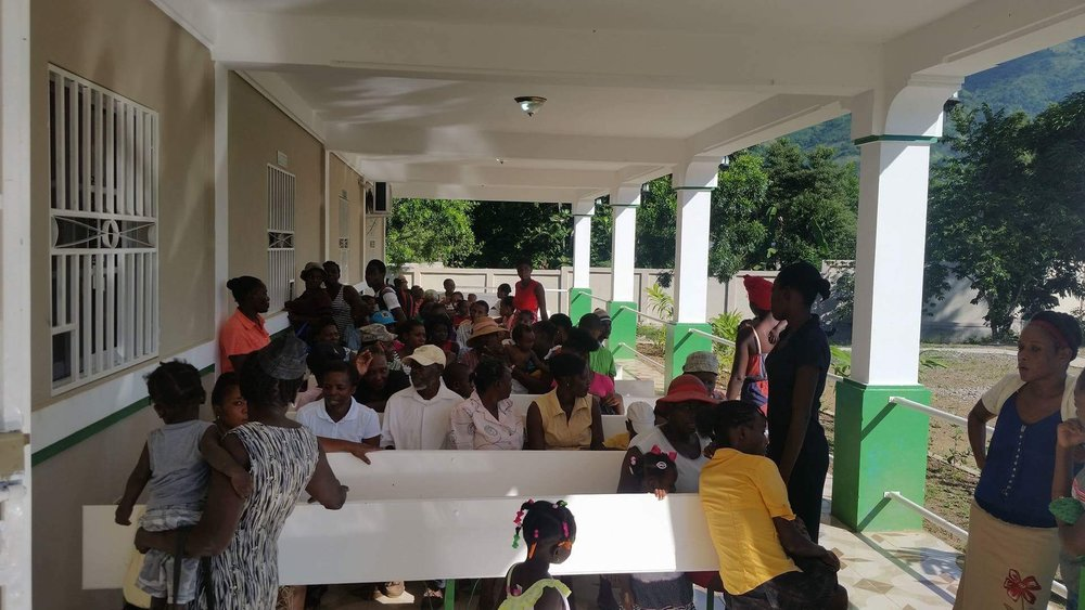 Crowds gathered to receive medical care on opening day at the newly opened CHIDA Hospital in Cap Haitien, Haiti.