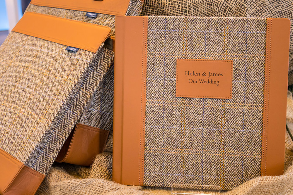Harris Tweed in Country Herringbone with Tan Leather