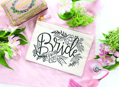 Bridal gift makeup bag