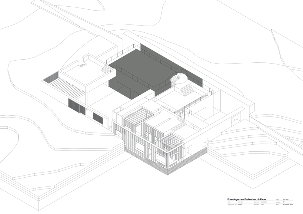 Isometric drawing which also shows the construction of the building.