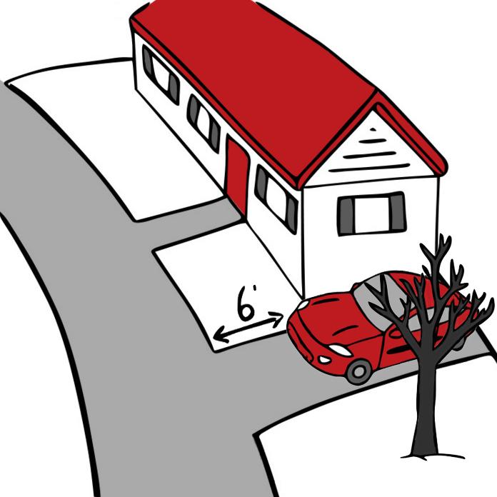 Laisser un espace d'au moins 2 mètres (6 pi.), entre la rue et votre véhicule