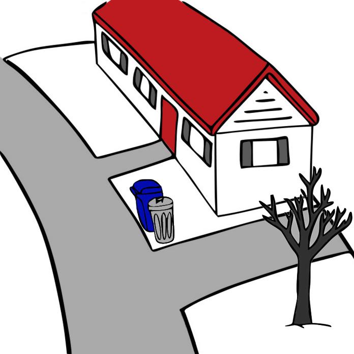 Placer votre poubelle et/ou bac de recyclage à la gauche de votre entée (voir photo)