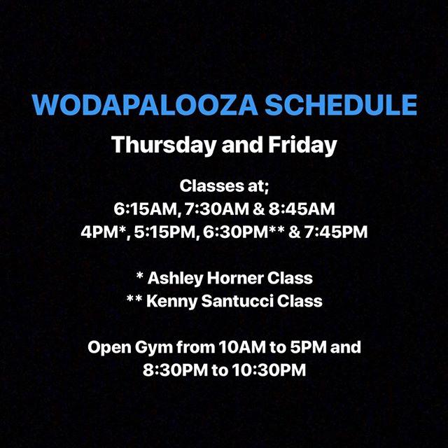 Thursday and Friday #wodapalooza schedule! ➖➖➖➖➖➖➖➖➖➖➖➖➖➖➖➖➖➖➖ Two Special Classes!! 4PM class coached by @ashley.horner! 6:30PM class coached by @kennysantucci! ➖➖➖➖➖➖➖➖➖➖➖➖➖➖➖➖➖➖➖ Click link in our bio for additional drop-in information!! #wza #wzamiami #wza2018