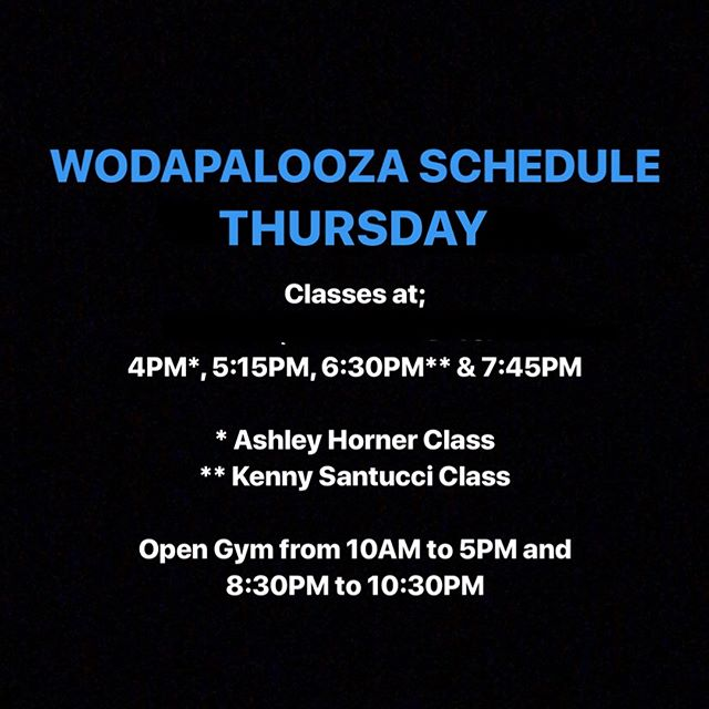 Thursday Afternoon #wodapalooza schedule! ➖➖➖➖➖➖➖➖➖➖➖➖➖➖➖➖➖➖➖ Two Special Classes: 4PM class coached by @ashley.horner! 6:30PM class coached by @kennysantucci! ➖➖➖➖➖➖➖➖➖➖➖➖➖➖➖➖➖➖➖ Click link in our bio for additional drop-in information!! #wza #wzamiami #wza2018