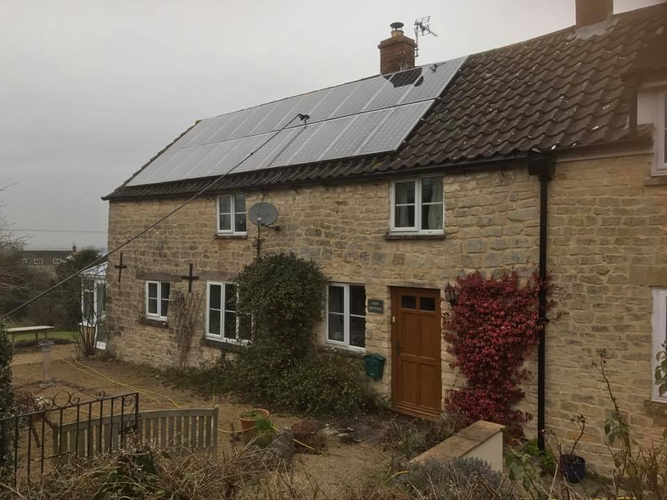 Cotswold house with solar panels