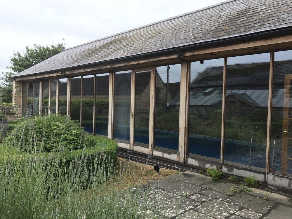 Pool house windows