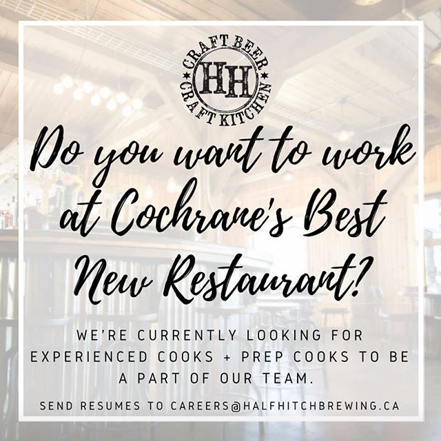 We're hiring!  If you want to work in a fun, fast pace environment, then do we have a job for you! 👍 send your resume to careers@halfhitchbrewing.ca  #werehiring #cochranealberta #cochranejobs #yyc #calgary #calgaryjobs #yycjobs #cooks #prepcooks #craftbeer #restaurant #yycnow #helpwanted