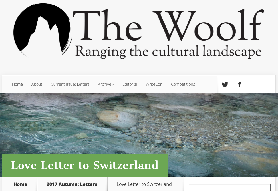 Click... - to read my Love Letter to Switzerland on The Woolf.