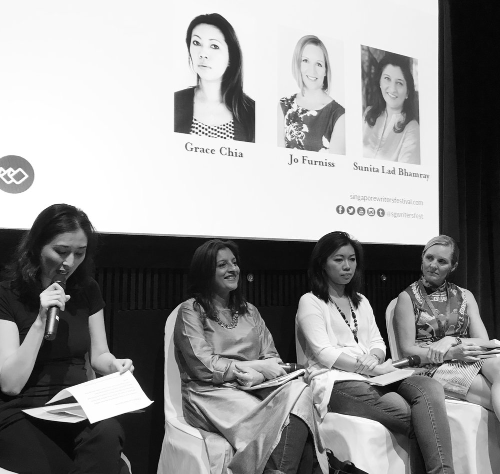 Motherhood panel, with Christina Sng on the mic, author Sunita Lad Bhamray and poet Grace Chia