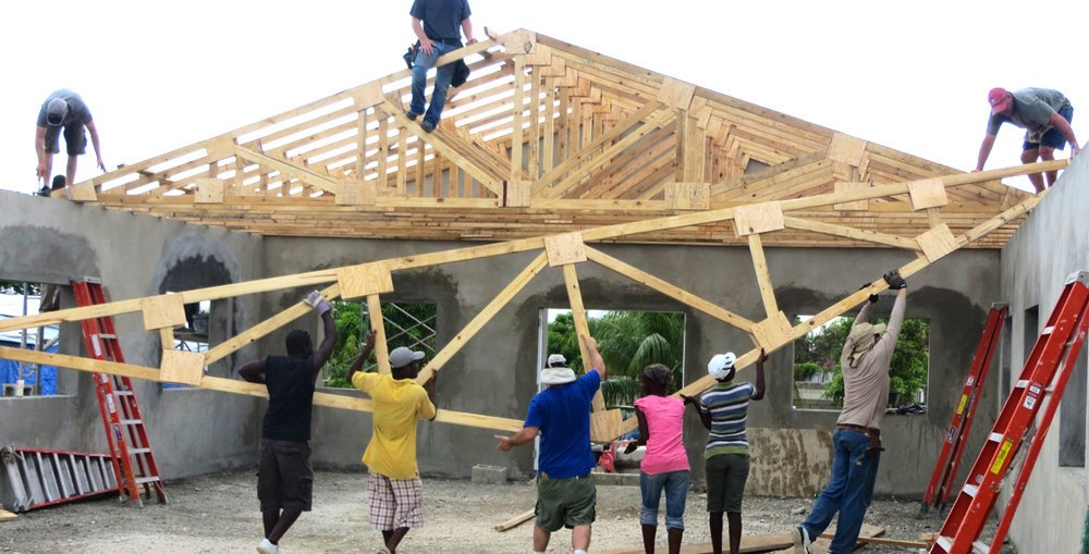 Church building project setting trusses