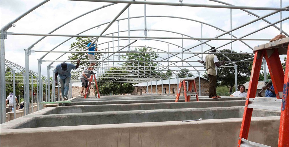 Construction of an aquaponics facility in Africa
