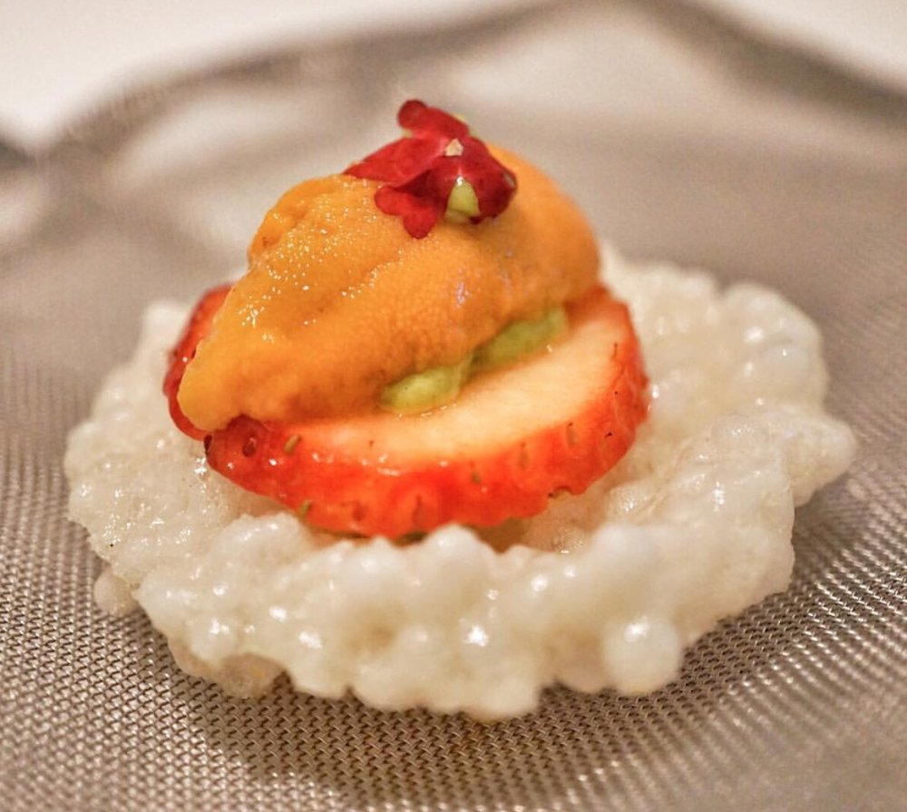 A papadum made with tapioca, topped with charcoaled uni and a slice of strawberry. So bizarre, but it worked.