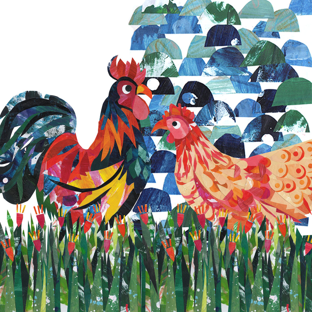 'Rooster and Hen', from the 'Look at Chooks!' poster, paper collage and digital design