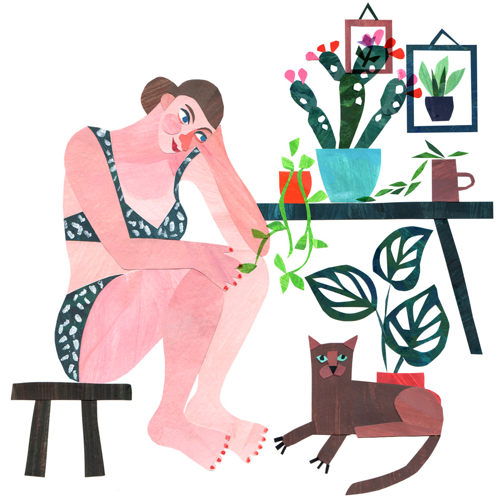 'Woman and Cat', collage