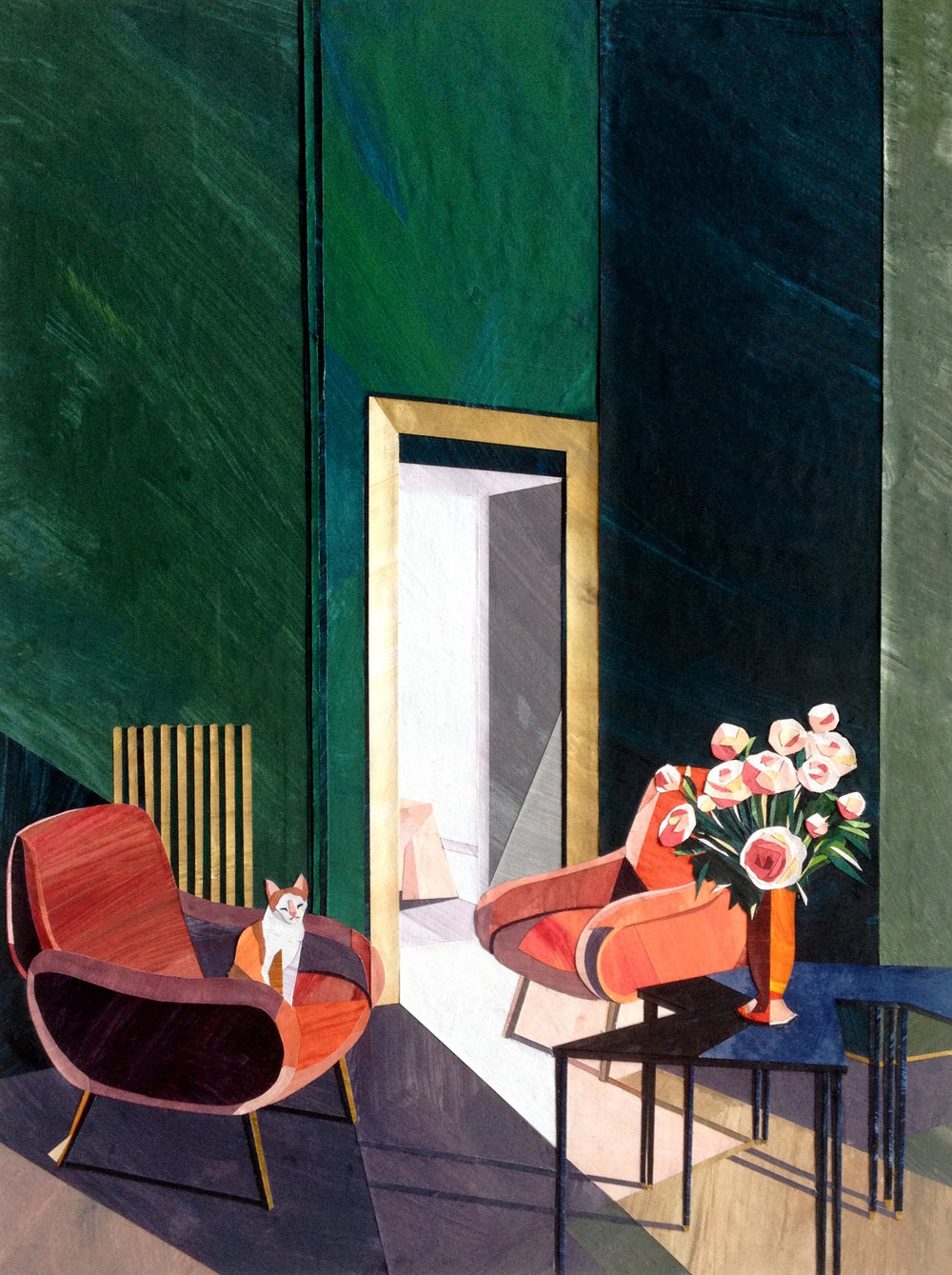 'Green Interior with Cat', paper collage