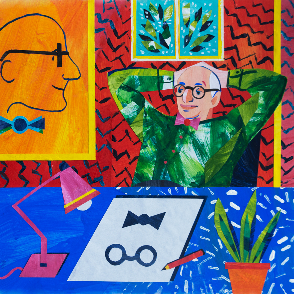 'Portrait of Wally Olins', paper collage