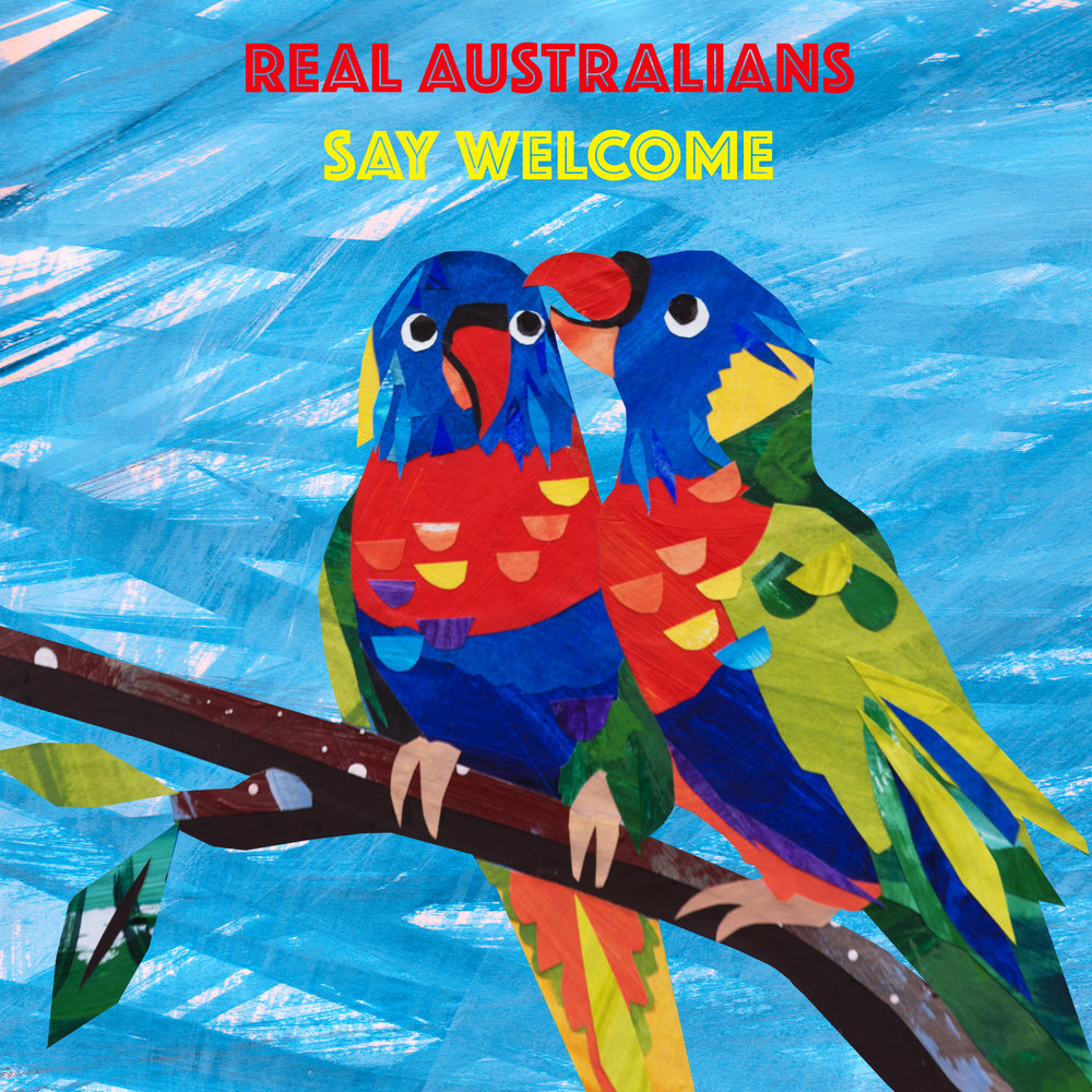 'Real Australians Say Welcome', collage and digital design