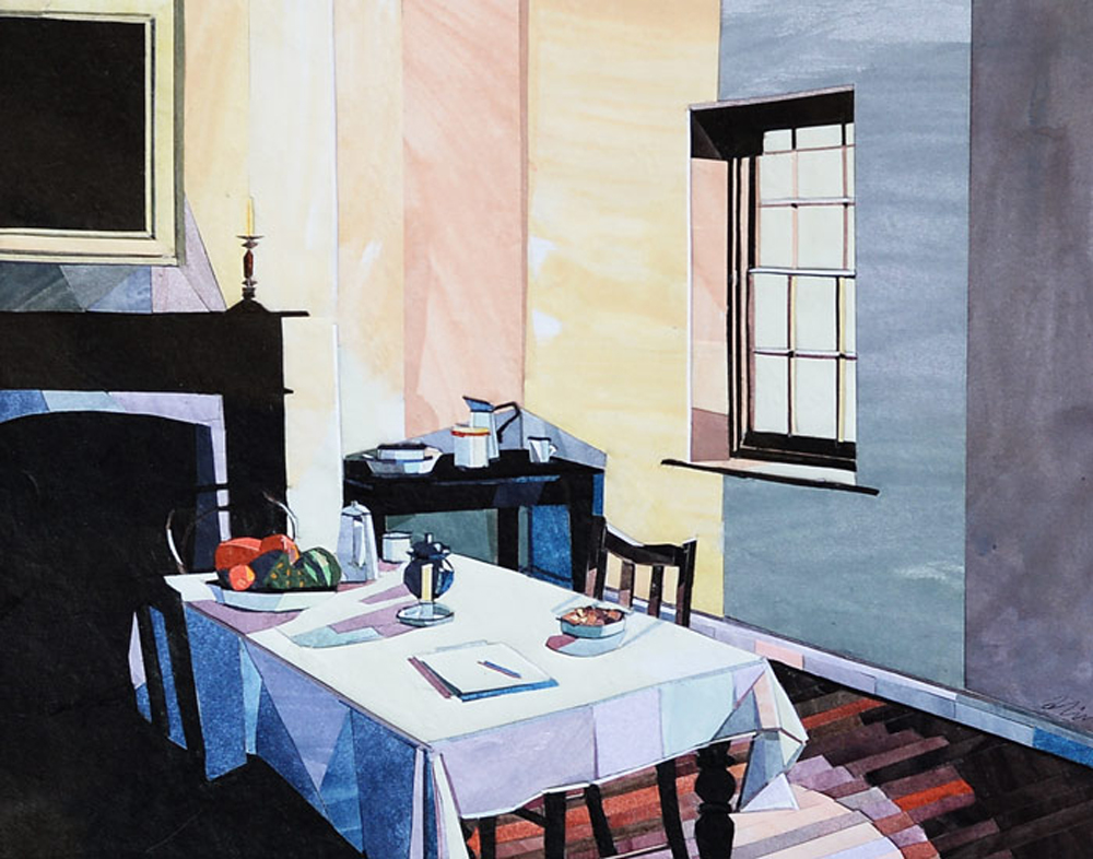 """The Dining Room', paper collage"