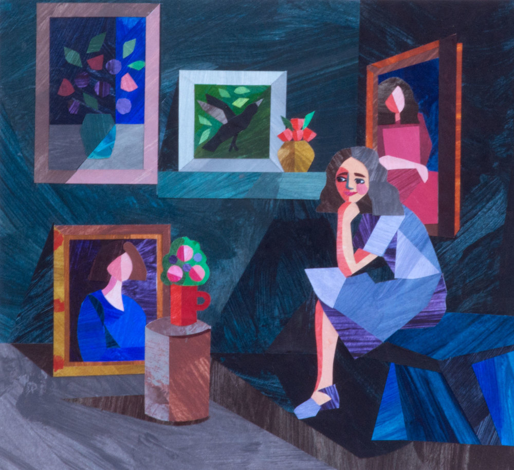 'Woman in Studio', paper collage