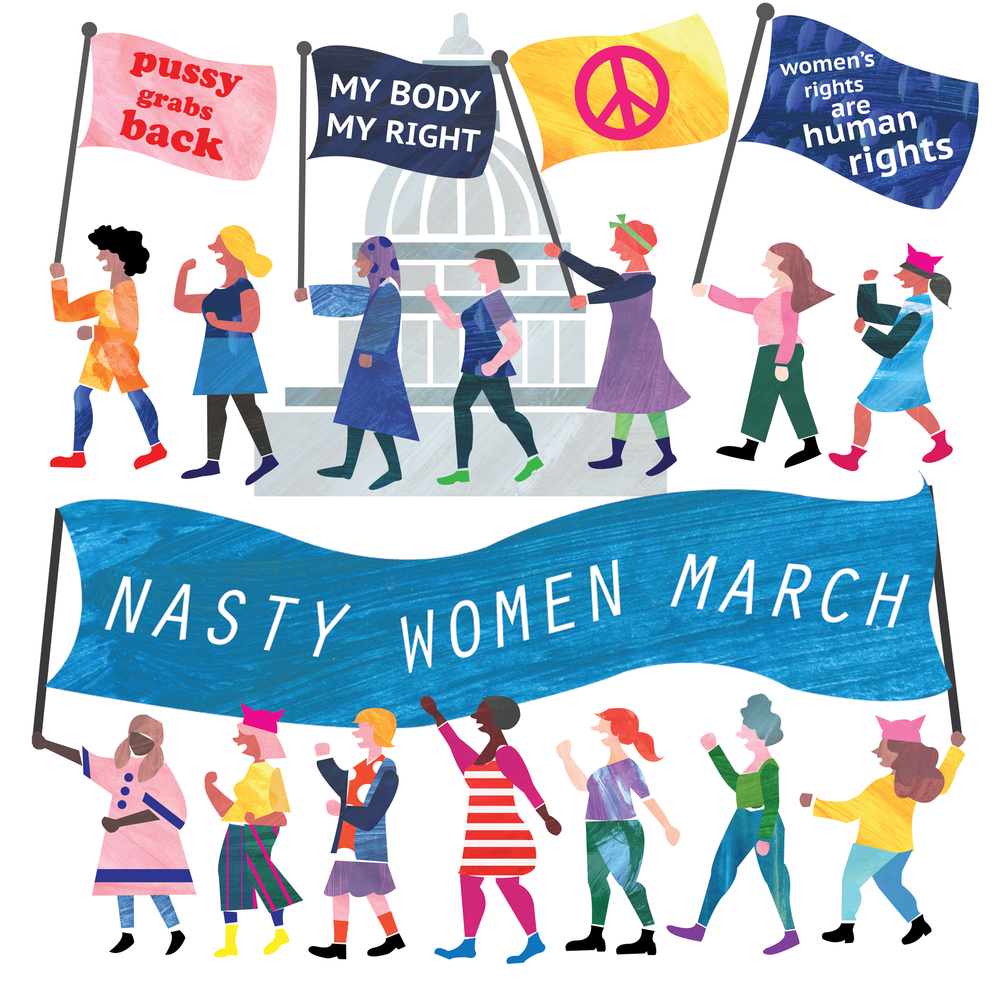 'Nasty Women March', illustration for the Women's March 2017