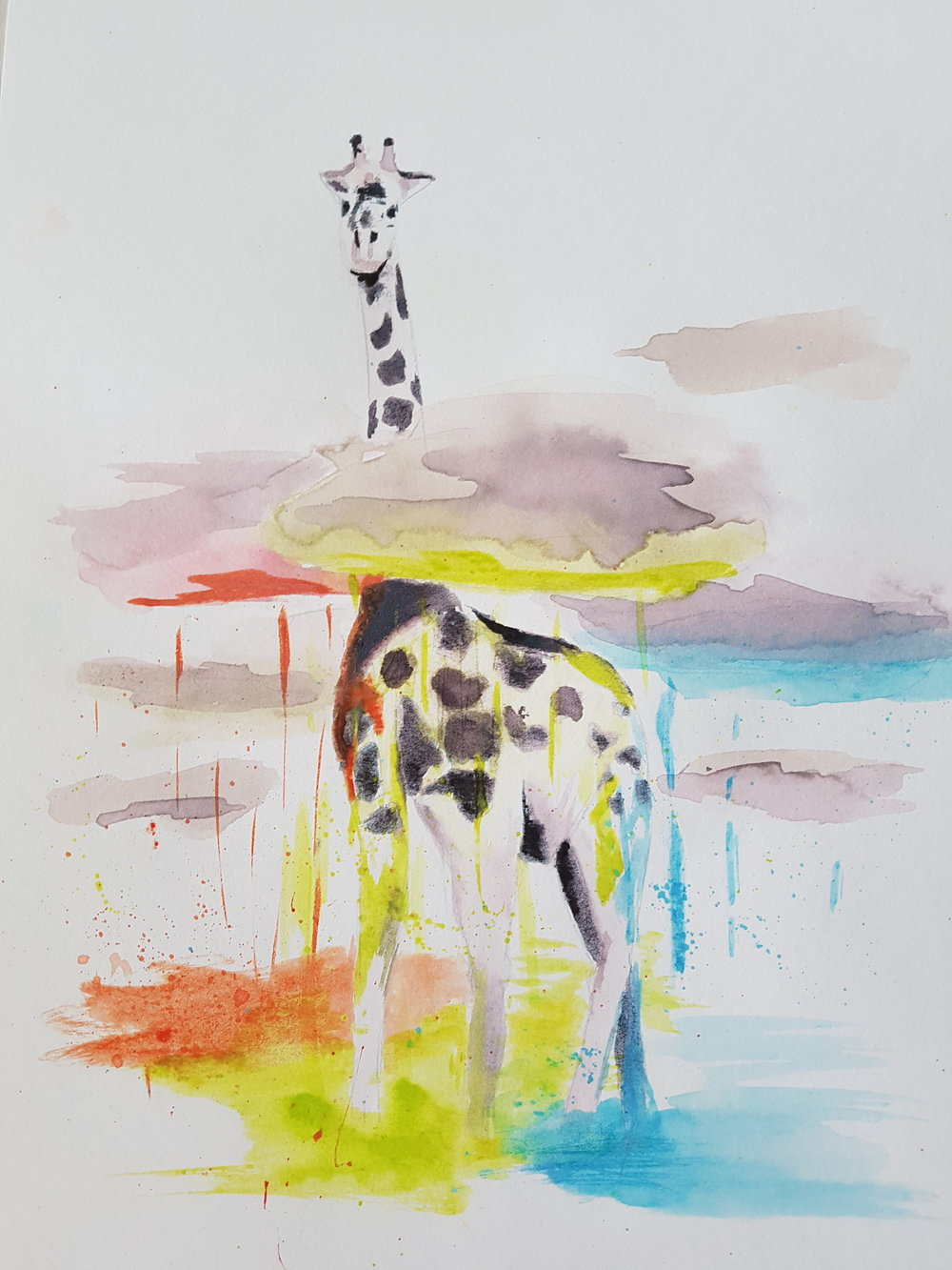 """Raining Color"" 8x12  This was one of the very first paintings I did with my Crayola watercolor set. I did a series of watercolor animals I found online, where the goal was to simply paint what I saw. I chose this giraffe because the crayola colors were so wild and bright that I knew they wouldn't look natural in any kind of landscape. So I picked a painting where I could break the rules a little. Not to mention I loved the original idea (credit to Phillip Grein at  boredpanda.com )."