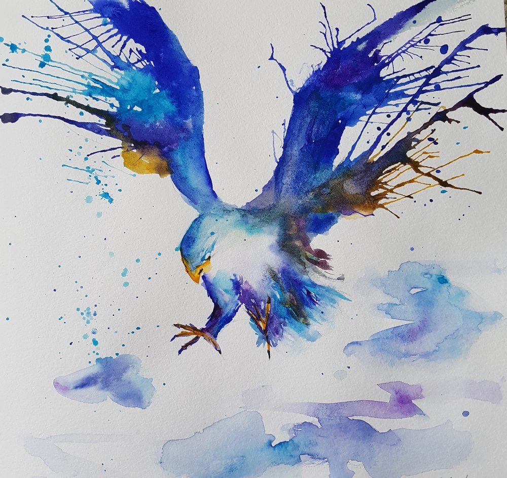 """Falcon"" 8x8 [SOLD]  When first learning to paint, I found a Chinese watercolorist by the name of Lian Quan Zhen. He uses a technique in his paintings where he pools a variety of colors, holds the paper up to his mouth, and blows them in all random directions. I love the chaos of this method, how beautiful and natural it ends up looking with no brush strokes.  This piece was inspired by a painting by Marc Allante ( www.marcallante.com )."