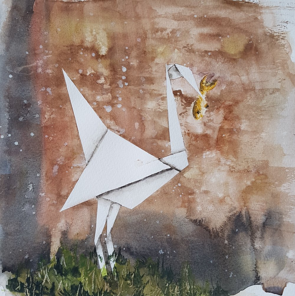 """Banksy's Crane"" 8x8 [SOLD]  One of the things I do when looking for inspiration for new paintings is look to other artists. Reading a book on street art and graffiti, I came across a mural by Banksy of this paper crane. I loved the idea, so decided to take my interpretation and use some of the unique techniques of watercolor to give it more flavor. I masked the crane with tape initially, washed the wall with reds and browns, then used a dry-brush technique to give the wall texture. After removing the tape and painting the fish, I added some grass to look like a real wall you might encounter in a run-down part of the city."