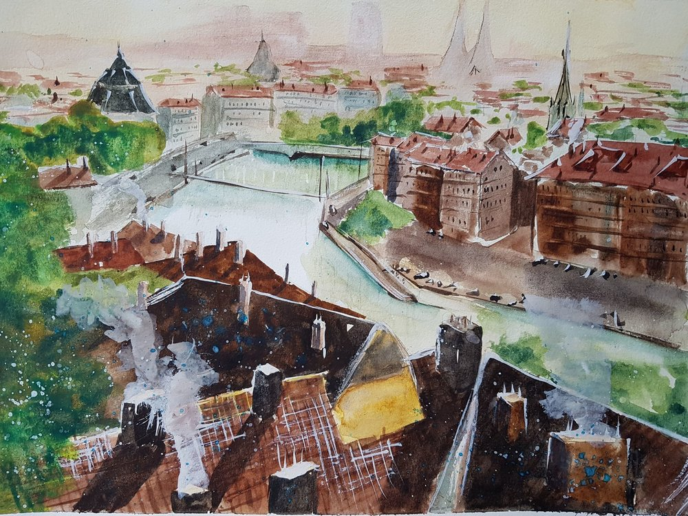 """View from Lyon - France"" 8.5x11  Reference photo came from Umberto Rossini's painting of the same name. Find more of Umberto's work on his  YouTube Channel ."