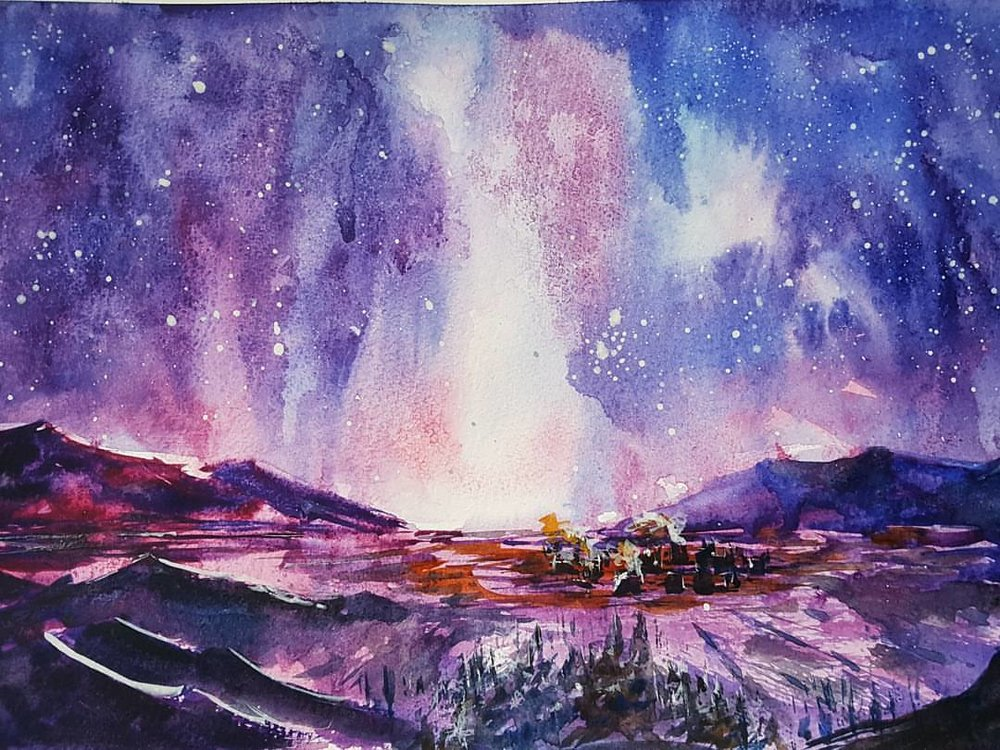 """Endless Night"" 8.5x11 [SOLD]  My take on a piece by the artist and author, Judd Mercer. He paints lots of fantasy pieces, and he inspired me to experiment with a new palette of violets, magentas, and indigos. The sky was especially fun as I would pour the pigment onto the wet page, then tilt the page around until I found the shape of the aurora. I'd encourage you to check out more of Judd Mercer's work on  https://juddmercer.artstation.com/ , as well as take a look at his illustrated novel,  All That Will Burn."