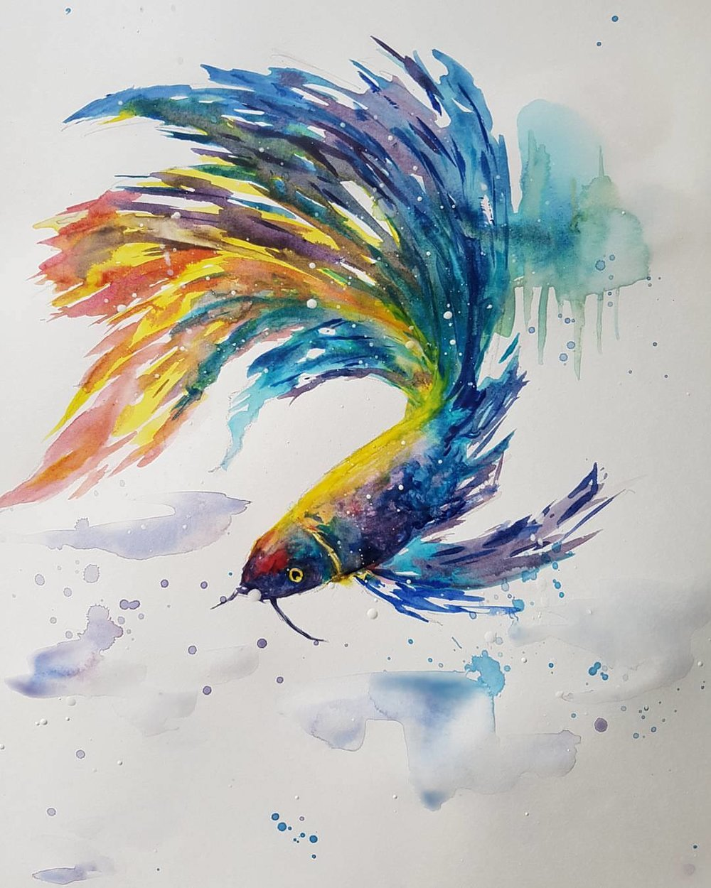 """Koi Painting"" 8.5x11  I fell in love with this style of watercolor where you find just enough of the animal's framework to make it recognizable, then let the rest of the color explode in any direction it wants. This and the painting to the left were painted nearly one year apart to the day."