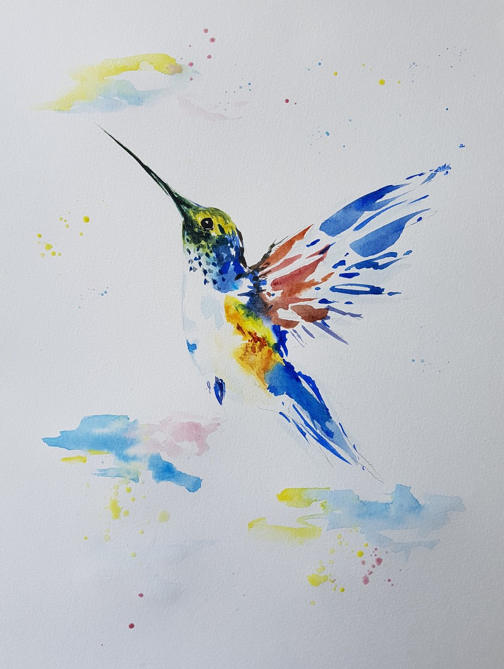 """Colibrí"" 11x8.5"" [SOLD]  I painted this as an exercise in minimalist strokes. After looking at what were the most essential parts of the reference photo, I tried to paint as little of the original as possible."