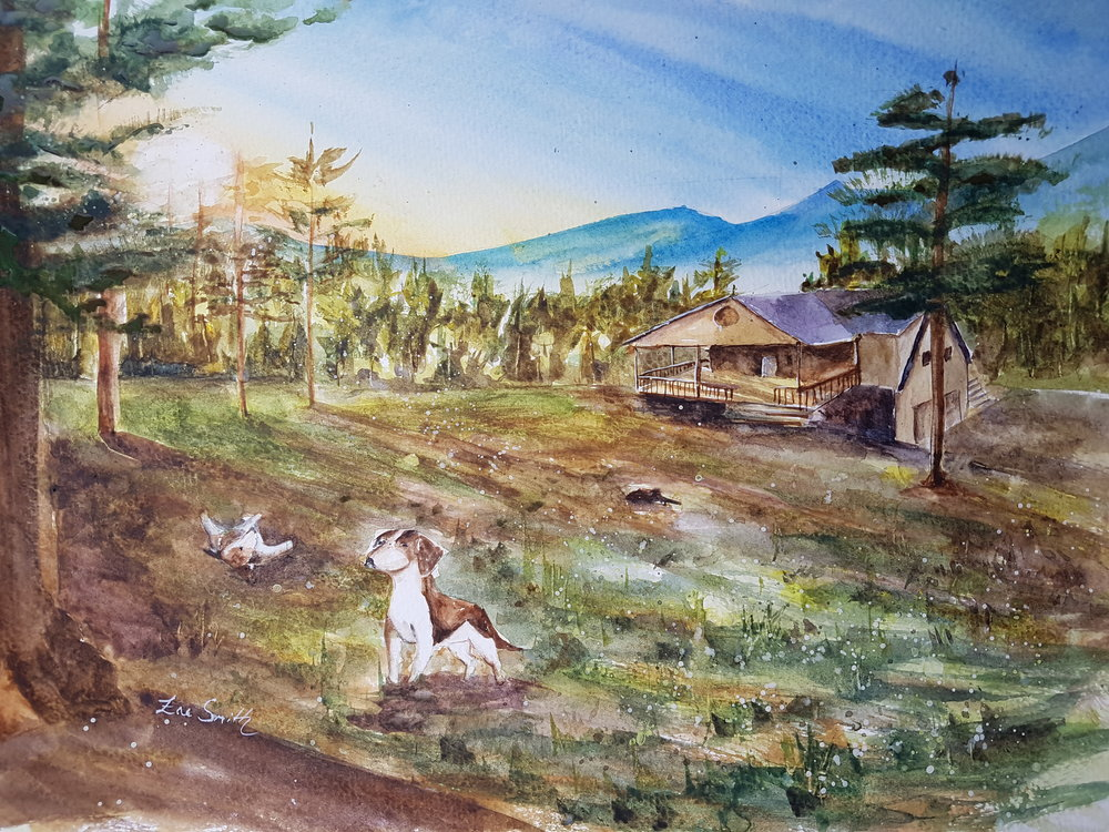 """Theron and Bailey"" 11x14"" [SOLD]  I worked with a friend to paint this commission of a cabin in the Blue Ridge mountains. You can read more about the making of this commission in an episode of  Passion Projects  that I wrote in January of 2018 ( link to that episode )."