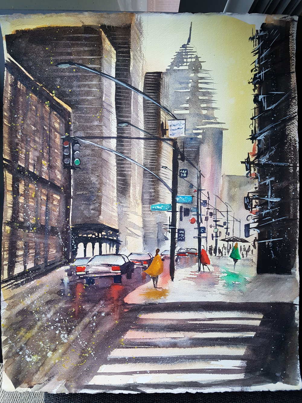 """New York, Revisited""  16x20"" [SOLD]  As I was learning to paint watercolor, I began to follow a French watercolorist named Umberto Rossini. He makes videos of step-by-step paintings, and from seeing the first video I instantly fell in love with his style. This is my interpretation of his painting ""NYC.""  You can see more from Umberto Rossini on  his YouTube channel."