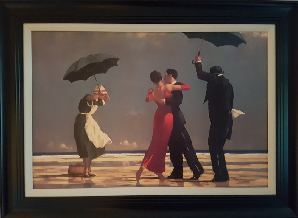 This is a large print and reproduction of an original. I got it from a family member who didn't want it any longer. Even though it's a cheap painting with a cheap frame, I've got a lot of love for these two dancers.